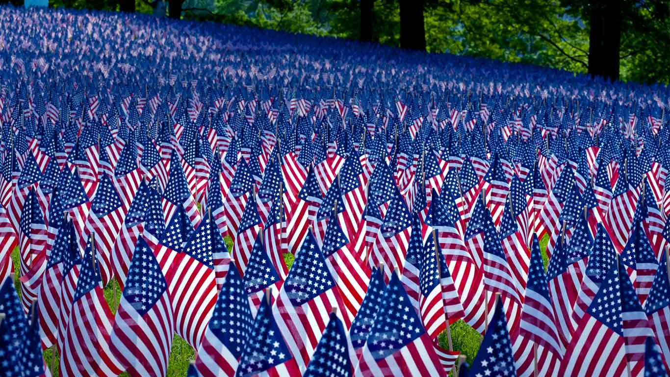 field of flags displayed for memorial day, boston