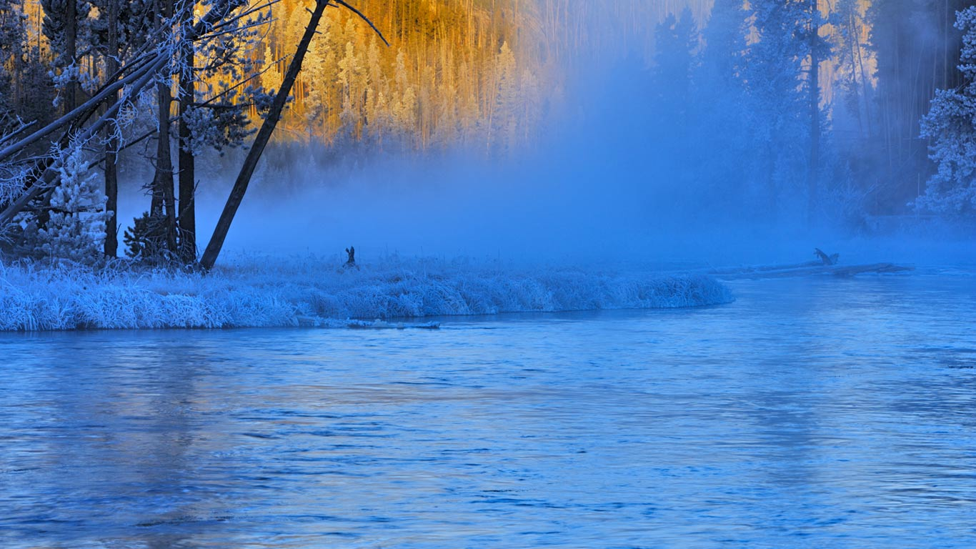 Firehole River In Yellowstone National Park Wyoming