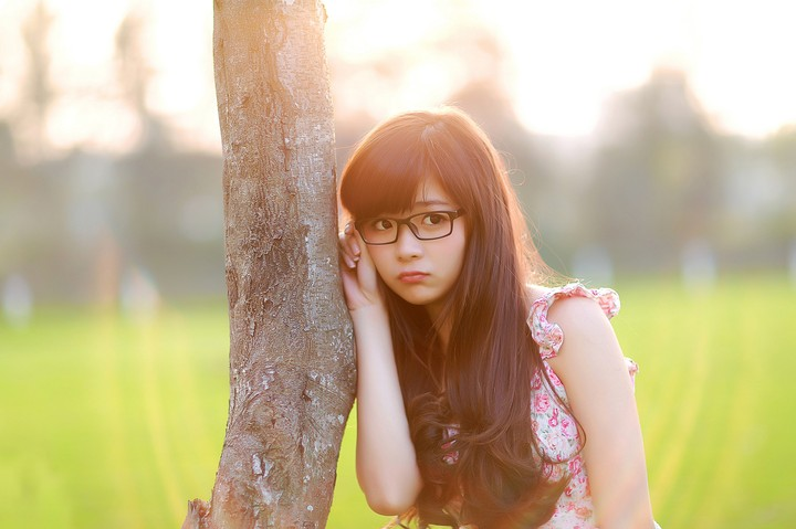 Cute Asian Girl with Glasses