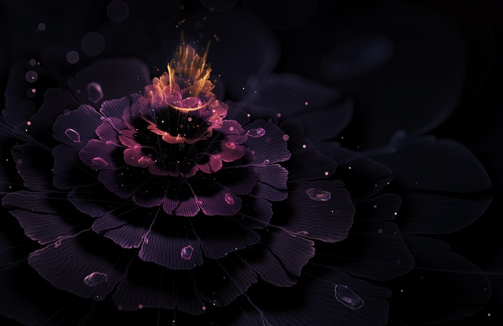 3d Graphic Abstract Flower Fractal Light Glow Bokeh Rays Drops