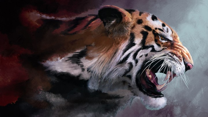 Angry Tiger, Painting