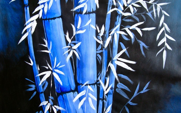Art Bamboo Blue Background Painting Night