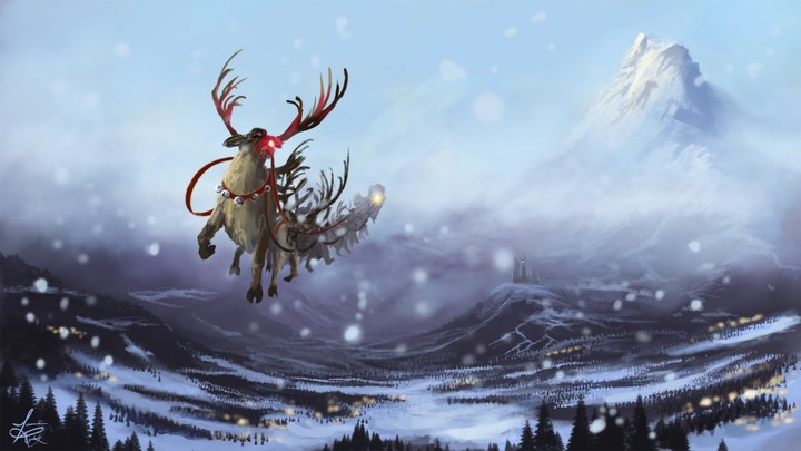 Art New Year Winter Snow Reindeer Sled Flying Mountains Castle