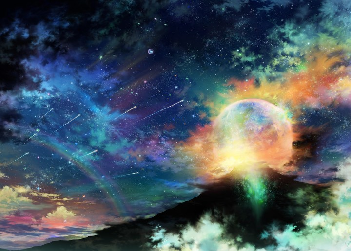 art tsujiki planet night stars clouds rainbow sky mountain