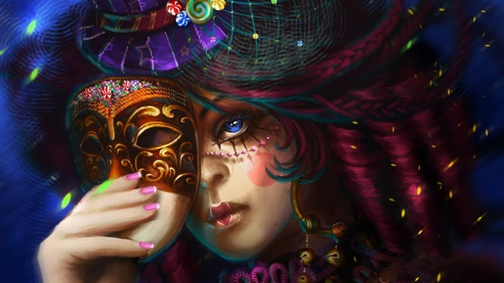 Artistic Blue Eyes Fantasy Art Glitter Hats 1366x768 98049