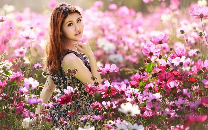 Asian Girl In Flower Field Wallpaper By Marksteele Revelwallpapers Net