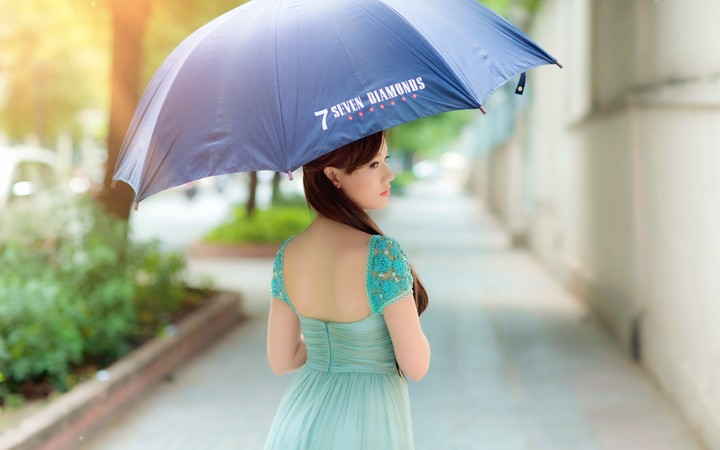 Asian Girl With Blue Umbrella Wallpaper By SophiaLane