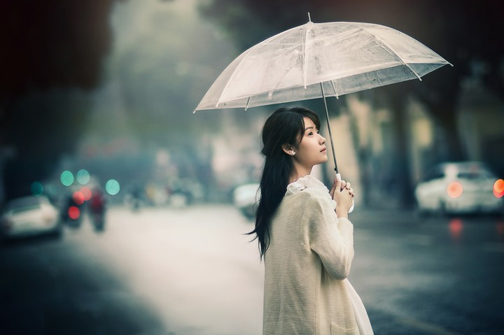 asian girl with umbrella