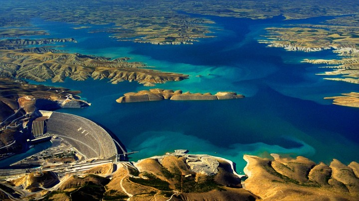 Aerial view of the Atatürk Dam on the Euphrates River, Turkey