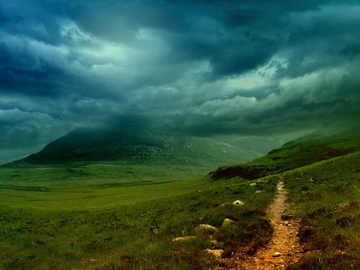 Beautiful Landscape Storm Over Mountain