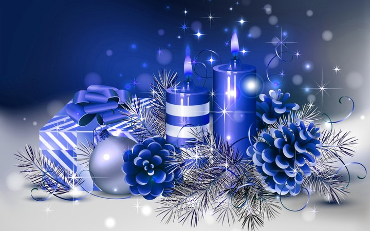 Blue Christmas Ball And Blue Candle Wallpaper By Henryjames