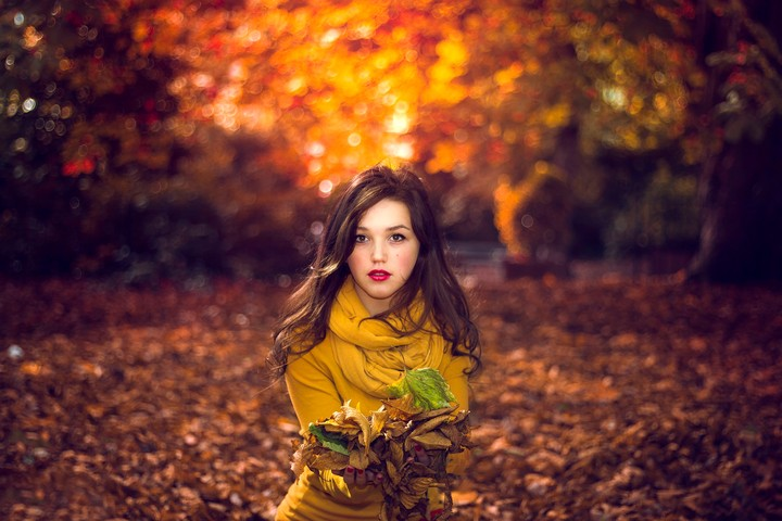 Bokeh The Autumn Portrait Girl Leaves Nature