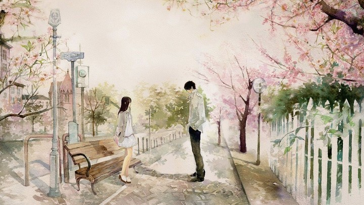 Boy And Girl In The Park Painting Anime