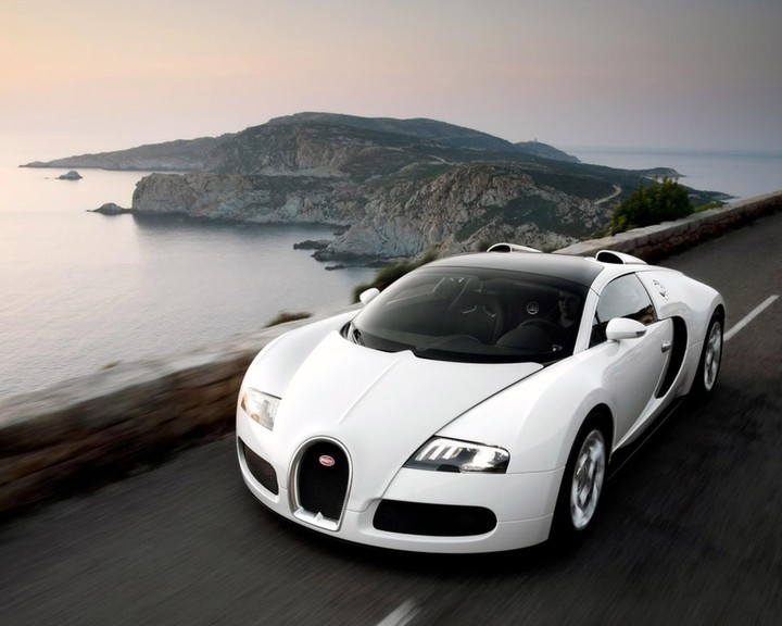 Bugatti White Auto Speed Car Sea Moundtain