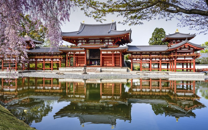 temple with reflection of water, Kyoto, Japan