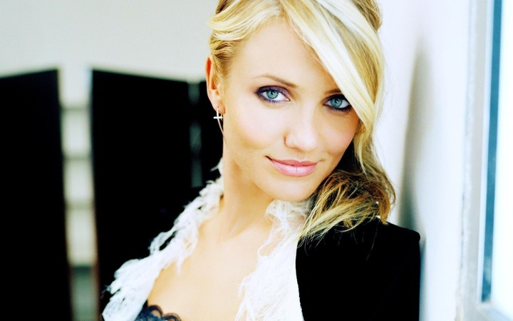 Cameron Diaz Green Eyed Eyes Blonde Smile Make Up