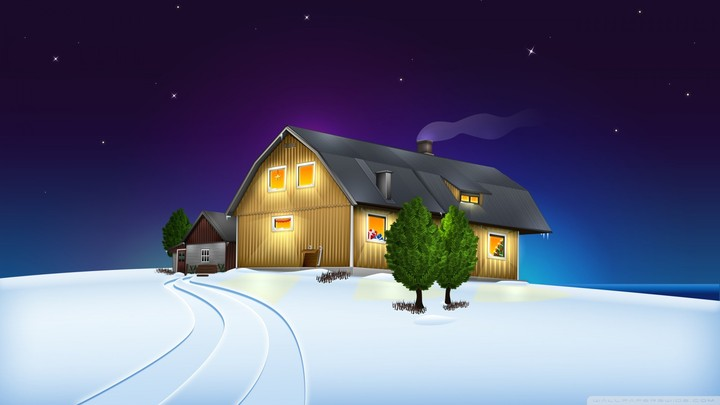Christmas House Drawing Background