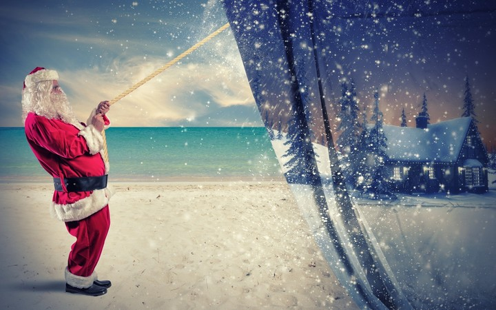 Santa Claus pulls the winter to make change to summer