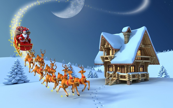 Santa Claus with reindeer flying house at night snow