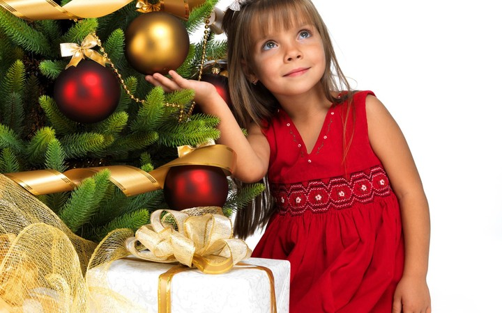 Christmas Tree Globes Children Red Dress Girl Gifts Hd