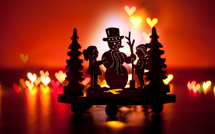 christmas decoration christmas tree kids snowman hearts lights new year