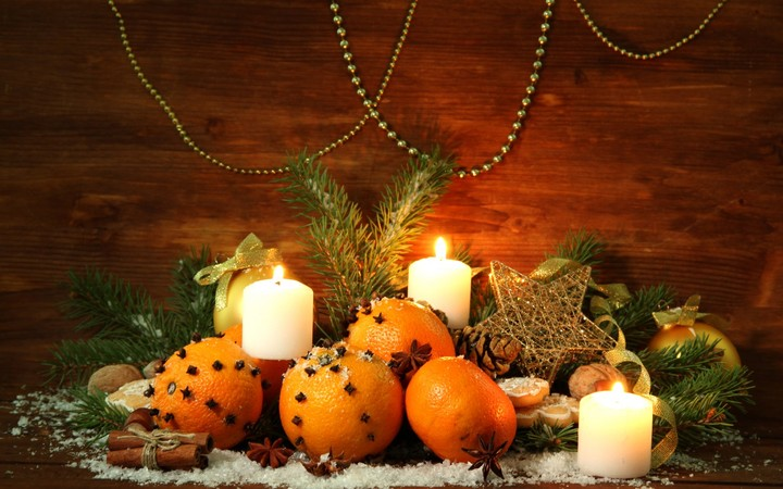 Christmas Tree Oranges Candles