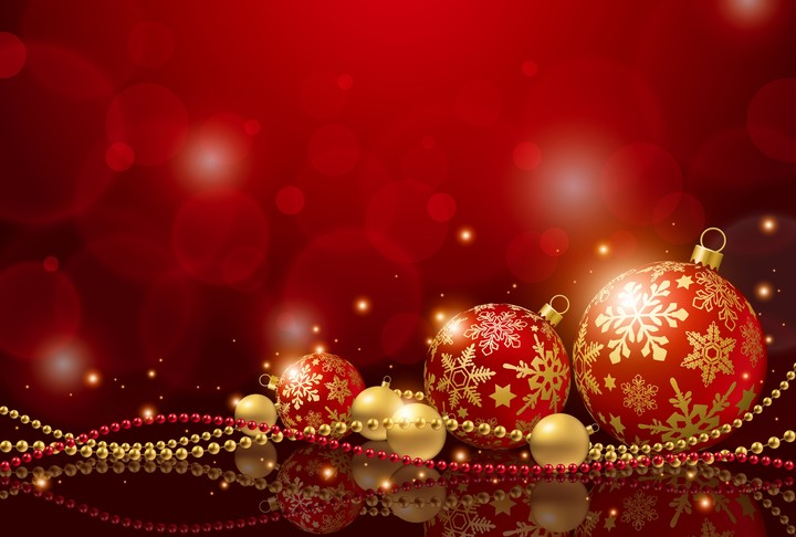 red Christmas ball on red bokeh abstract background