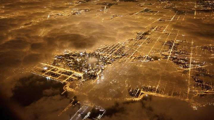 Aerial view at night, Chicago, Illinois