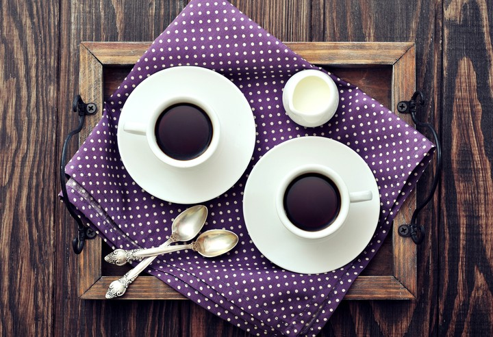 Coffee Cups Saucers Milk Spoon Napkin Tray