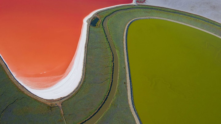 Salt evaporation ponds in San Francisco Bay, California