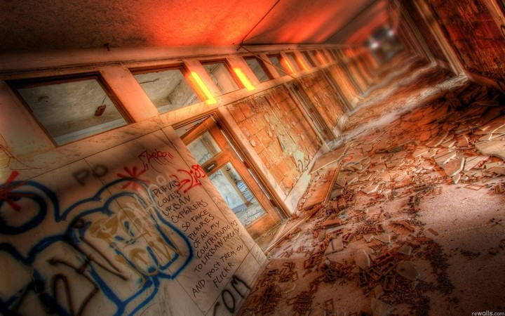 Corridor Graffiti Wall Ruins Art Design
