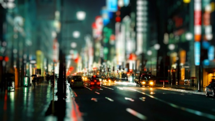 Crowded City Street Cityscapes Lights Okeh Wide