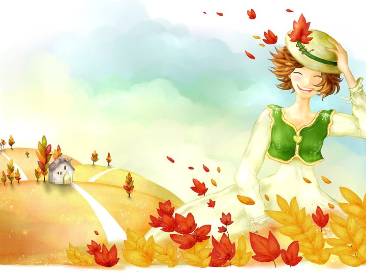Drawing Girl Autumn Wind Leaves Path House Hat Mood