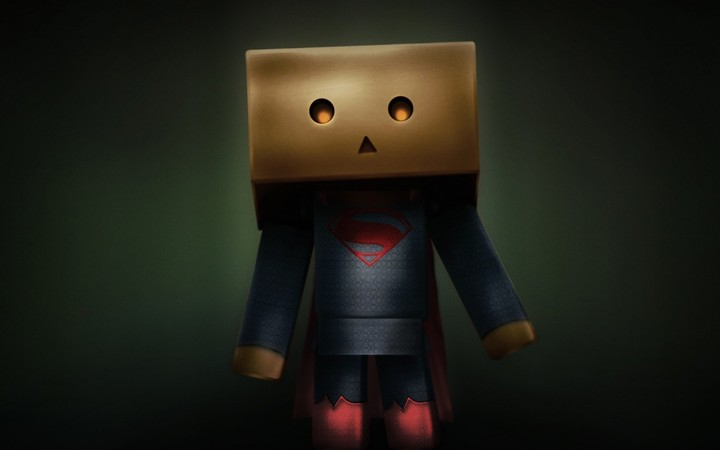 Drawing Light Danbo Box Superman Hd Dark Background