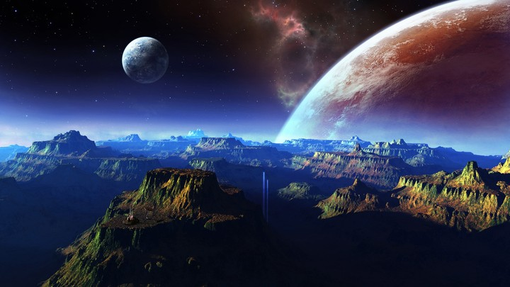 Fantastic Scenery Space and Mountains