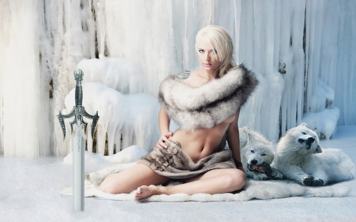 Fantasy Girl Warrior Sword Snow Ice White Wolves Game