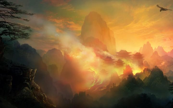 Fantasy Mountain Design Dark Background Wallpaper By Kyouko