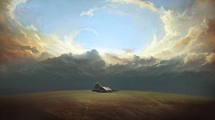 Farm Under The Cloudy Sky Artistic background desktop ...