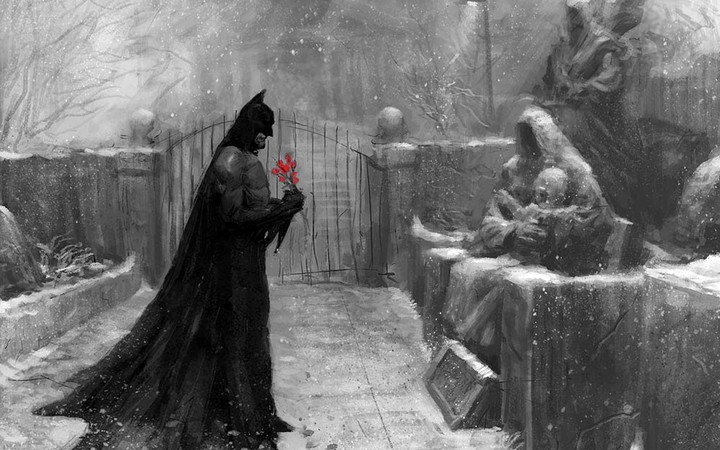 Figure Batman Cemetery Red Flower Snow Rain