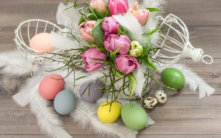 flowers, tulips, easter eggs