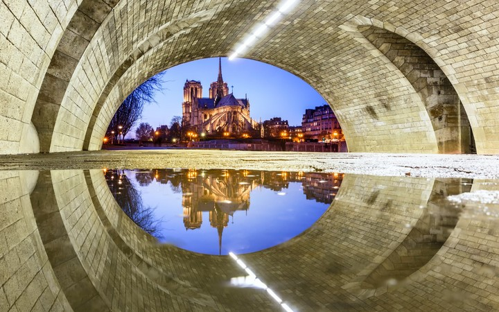 France City Paris The Catholic Cathedral Notre Dame Cathedral The Bridge