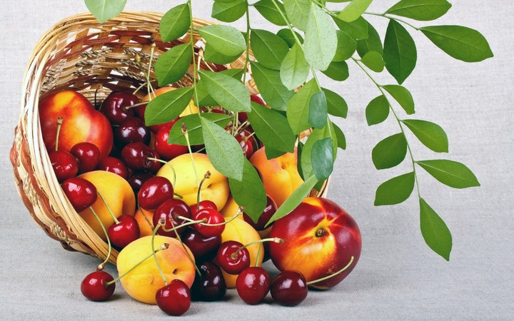 Fruits Peaches Cherries Basket Leaves