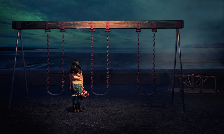 Girl Swings Sea Surf Twilight Toy Sad