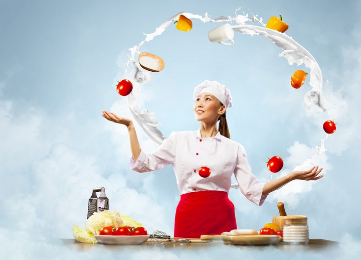 Girl Woman Chef Kitchen Vegetables Tomatoes Peppers Eggs Milk Cabbage Smile