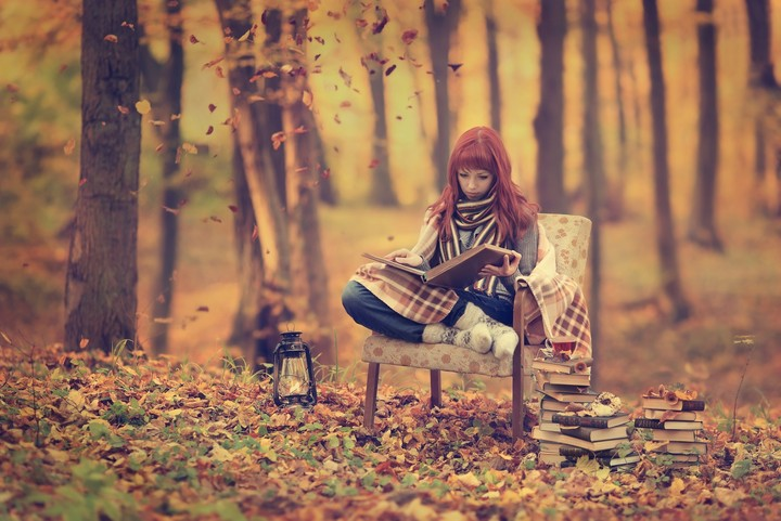 Girls Autumn Foresh Read Book Images Art Lovely Wallpaper By
