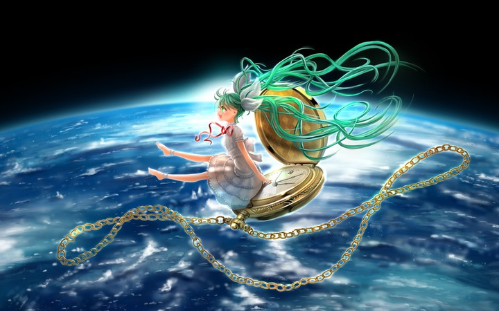Hatsune Miku Girl Watch Chain Vocaloid Space Earth Planet Bows Ribbon Anime