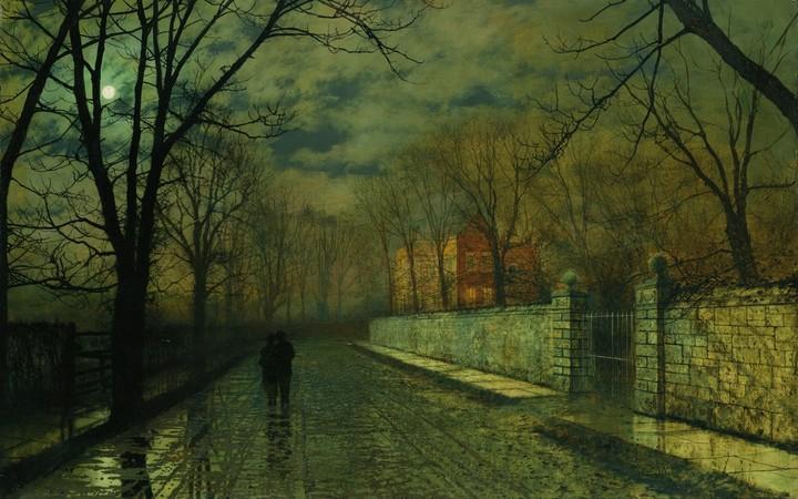 John Atkinson Figures In A Moonlit Lane After Rain Landscape City Street Moon Trees House Fence