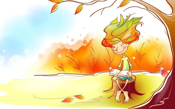 Kids Cartoon Paradise Autumn Read Book Tree Painting