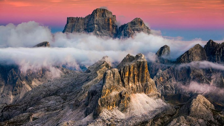 Averau and Monte Pelmo seen from Lagazuoi Mountain near Cortina d''Ampezzo, Italy