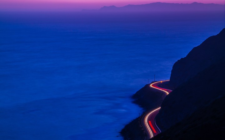 Light Trails, Road, Mountains